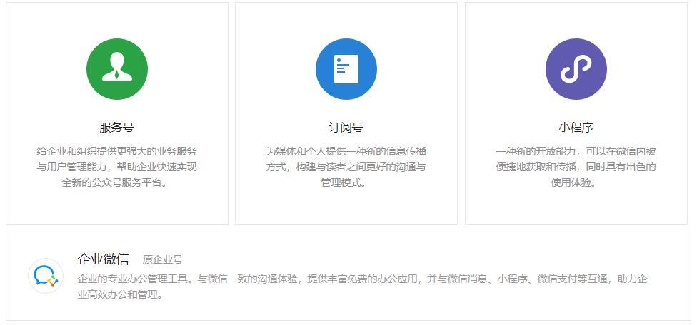 微信公众号:如何选择微信公众号的类型:服务号、订阅号、企业号、小程序